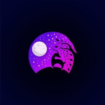 Fantastico modello colorato logo vita notturna premium
