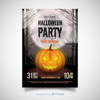 Fantastico poster di halloween party con design realisitc