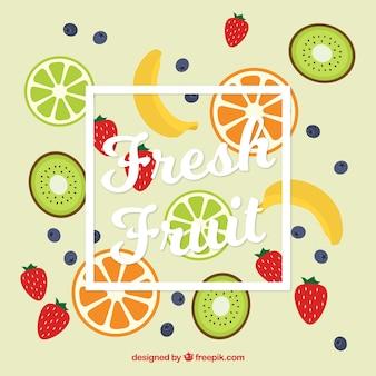 Fantastico sfondo con varietà di frutta piatte