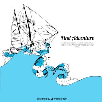 Fantastico sfondo della barca disegnati a mano e mare blu