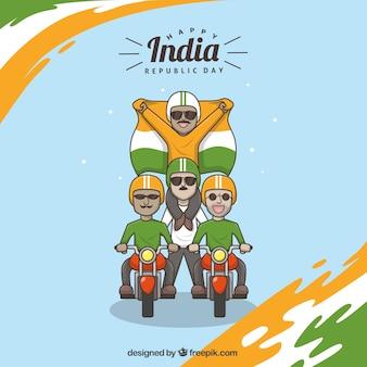Fantastico sfondo di indian giornata repubblica con i motociclisti