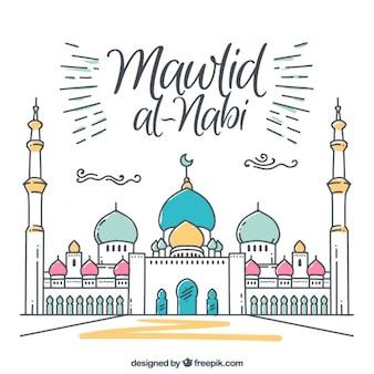 Fantastico sfondo mawlid della moschea con dettagli di colore
