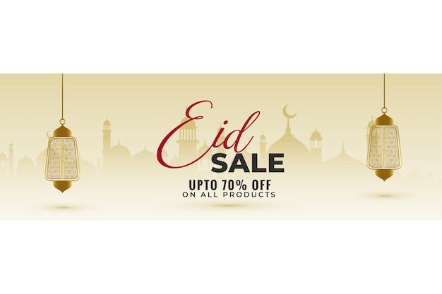 Fantastico striscione di vendita eid con lanterne appese