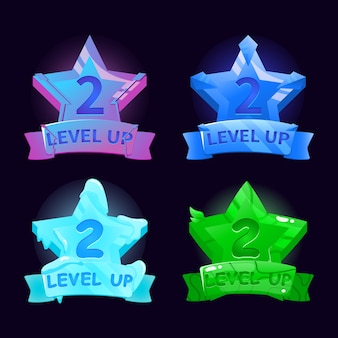 Fantasy gui star level up icon interface for game ui asset elements