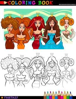Fantasy princesses o queens per la colorazione