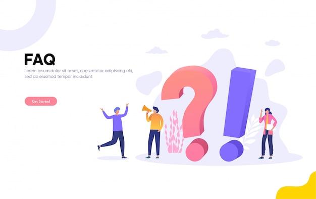 Faq e illustrazione di qna, personaggi di persone in piedi accanto a punti interrogativi. centro di supporto online per donna e uomo. illustrazione piana, landing page, modello, interfaccia utente, web