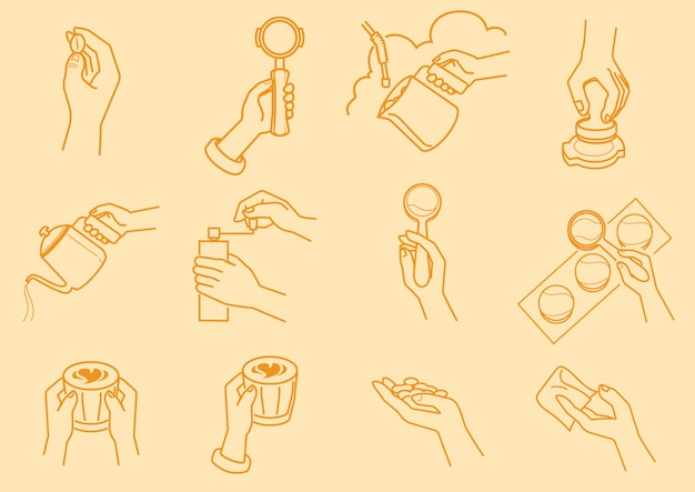 Fare del caffè con l'illustrazione della mano