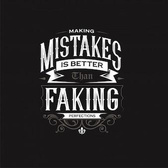 Fare errori tipografia design citazione