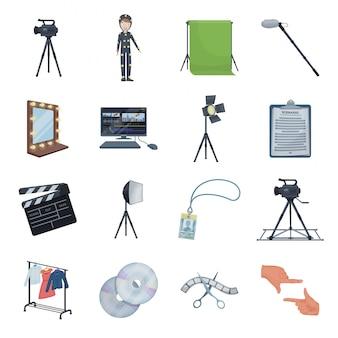 Fare film set icona del fumetto. icona stabilita del fumetto del cinema. film di strada.