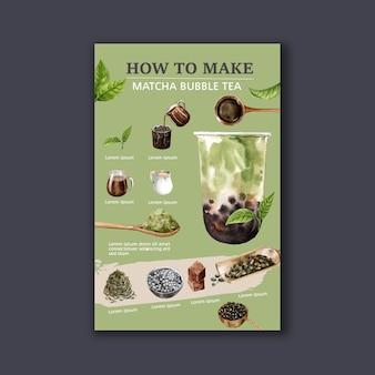 Fare il tè al latte matcha bubble fatto in casa, contenuto dell'annuncio moderno, illustrazione dell'acquerello
