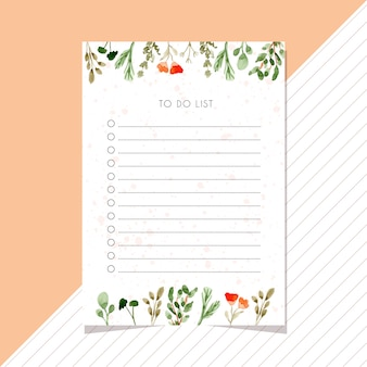 Fare lista carta con bordo acquerello foglie
