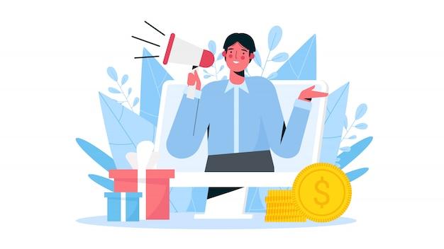 Fare riferimento a un amico illustrazione piatta. programma di referral e social media marketing, metodo di promozione. l'uomo grida sul megafono e attira i clienti per soldi e regali.