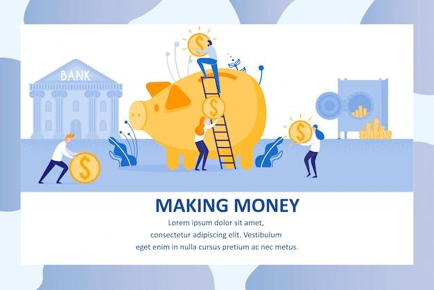 Fare soldi, usando la banca. banner pubblicitario.