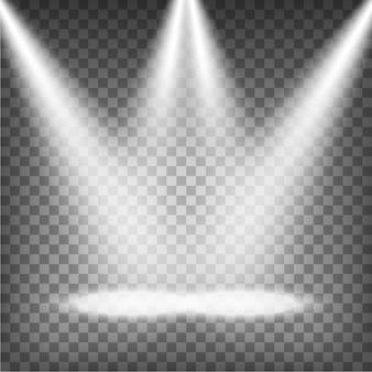 Faretti illuminati su sfondo trasparente