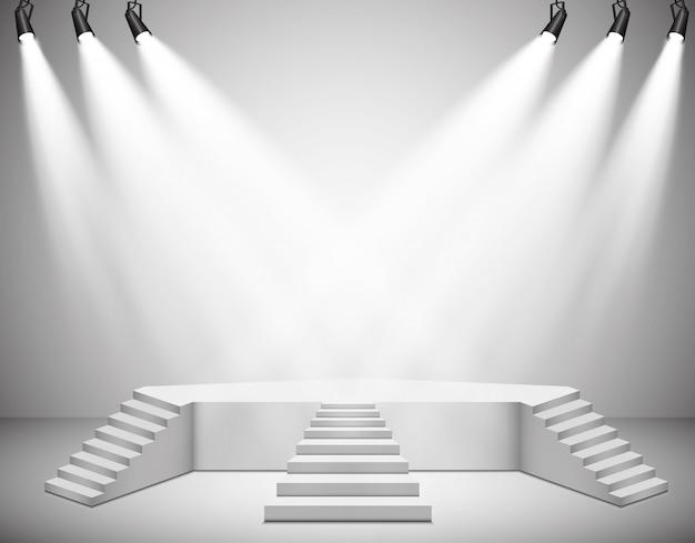Faretti. scena. podio degli effetti di luce.