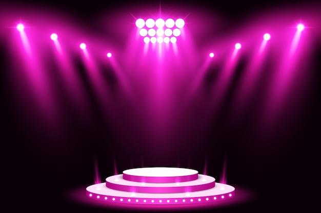 Faretto per palcoscenico a luce viola con tappeto rosso