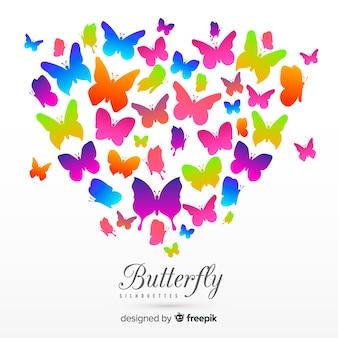 Farfalla colorata sagome sullo sfondo