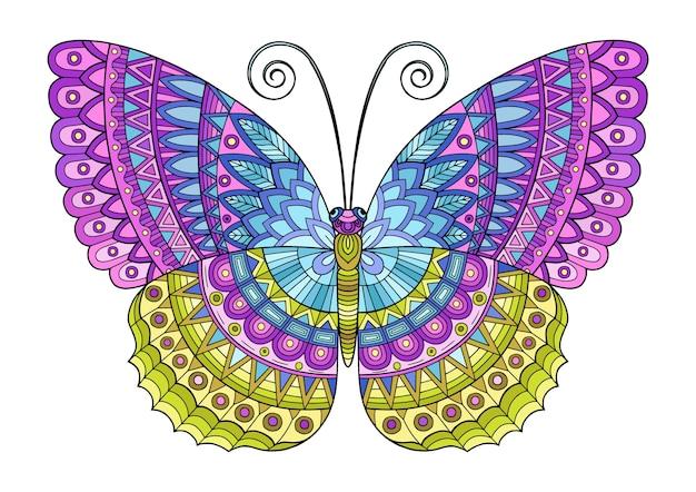 Farfalla di colori vivaci. immagine per la stampa su vestiti, colorazione, sfondi.