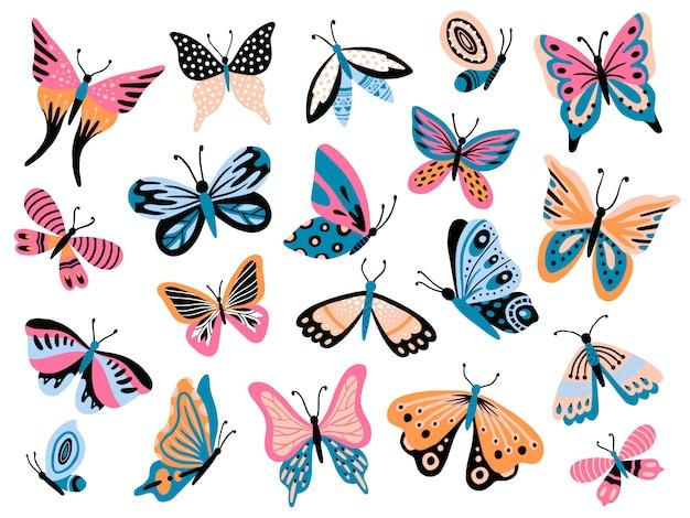 Farfalla disegnata a mano fiorisca le farfalle, le ali del lepidottero e la raccolta isolata insetto volante variopinto della molla