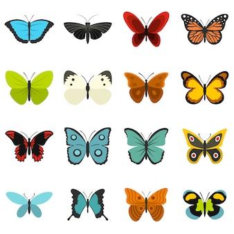 Farfalla imposta icone piane