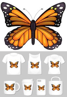 Farfalla monarca su diversi modelli di prodotto