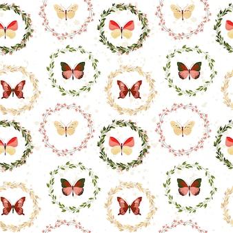 Farfalla seamless su sfondo bianco.
