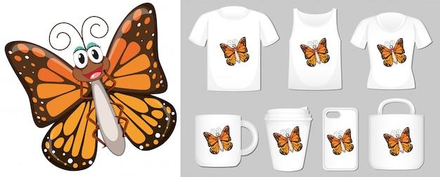 Farfalla su diversi tipi di merchandising