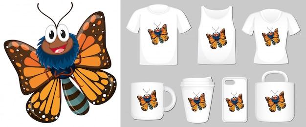 Farfalla su diversi tipi di modello di prodotto
