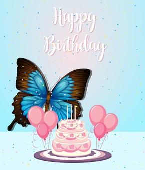 Farfalla sulla cornice di compleanno