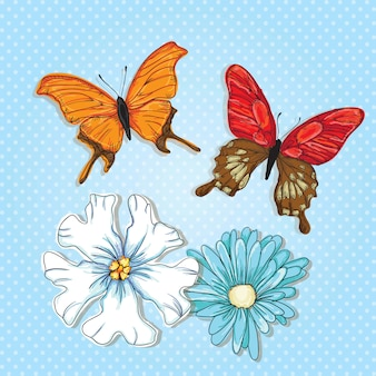 Farfalle colorate con fiori su sfondo blu