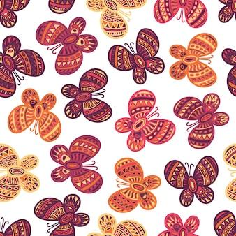 Farfalle decorate colorate su sfondo bianco. bellissimo motivo a farfalla senza soluzione di continuità.