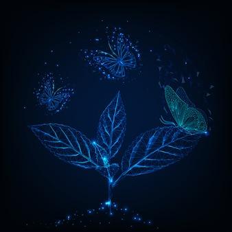 Farfalle futuristicflying intorno alla pianta su blu scuro