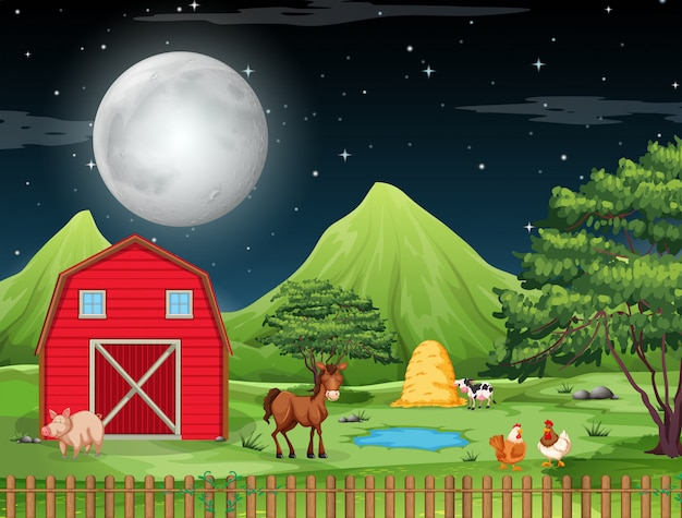Farm at night scene