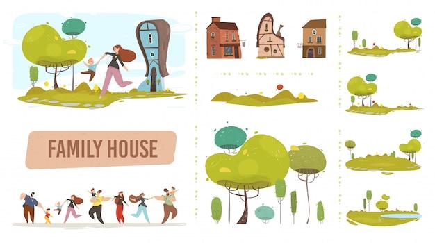 Farm family house set in stile piatto alla moda artigianale