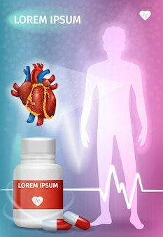 Farmaci per il trattamento di malattie cardiache poster vettoriale