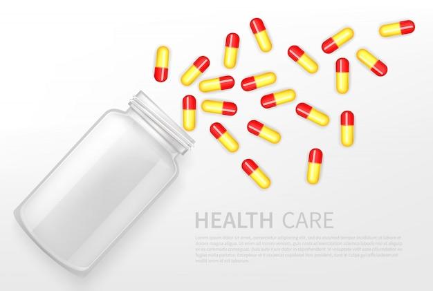 Farmacia, banner pubblicitario di vettore di servizio sanitario