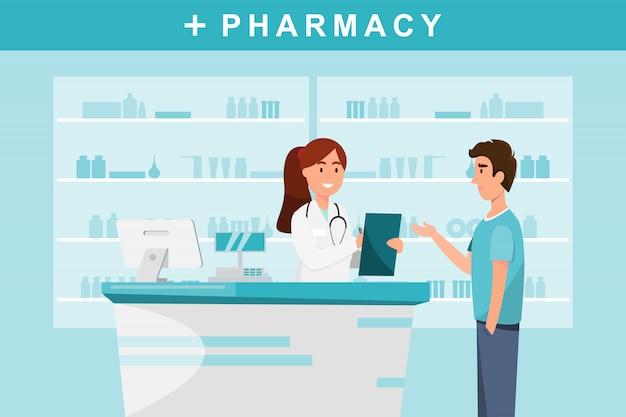 Farmacia con farmacista e cliente in contro.
