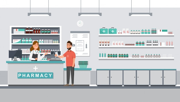 Farmacia con farmacista e cliente in contro