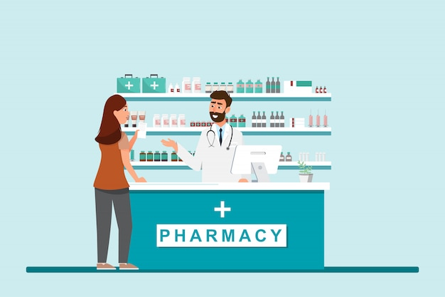 Farmacia con farmacista e cliente in contropiede
