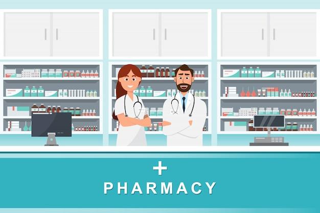 Farmacia con medico e infermiere nel bancone