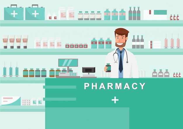 Farmacia con medico in cassa. disegno del personaggio dei cartoni animati della farmacia