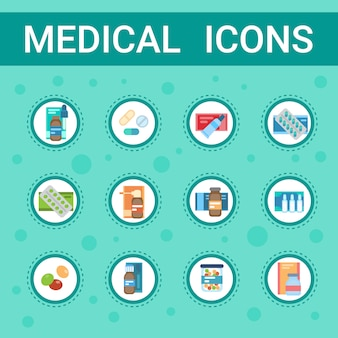Farmacia icon pills set medical health care clinics servizio ospedaliero medicina farmaci collection