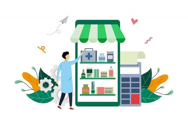 Farmacia online o farmacia, modello piatto illustrazione medicina medica