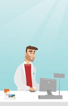Farmacista al bancone con cassa.