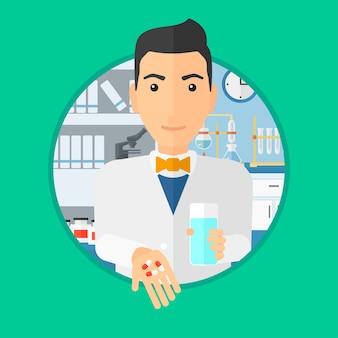 Farmacista che dà le pillole e bicchiere d'acqua.
