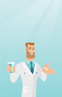 Farmacista che dà le pillole e un bicchiere d'acqua.