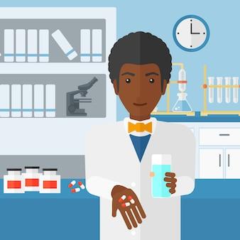 Farmacista che dà le pillole.