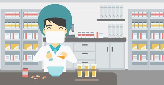 Farmacista che prepara farmaci.
