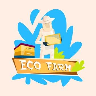 Farmer gather honey from bee hive apiary logo eco farm