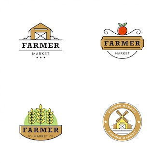 Farmer market logo vintage style